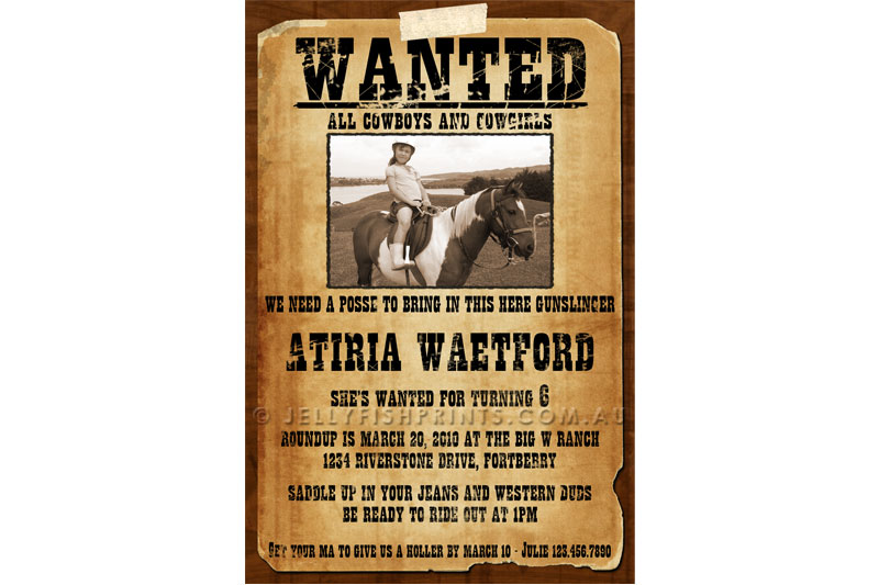 wanted birthday invitation template ; cowboy-wanted-poster