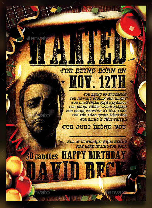 wanted birthday poster ; Funny-Wanted-Birthday-Party-Poster-Template