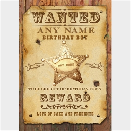 wanted birthday poster ; Lister