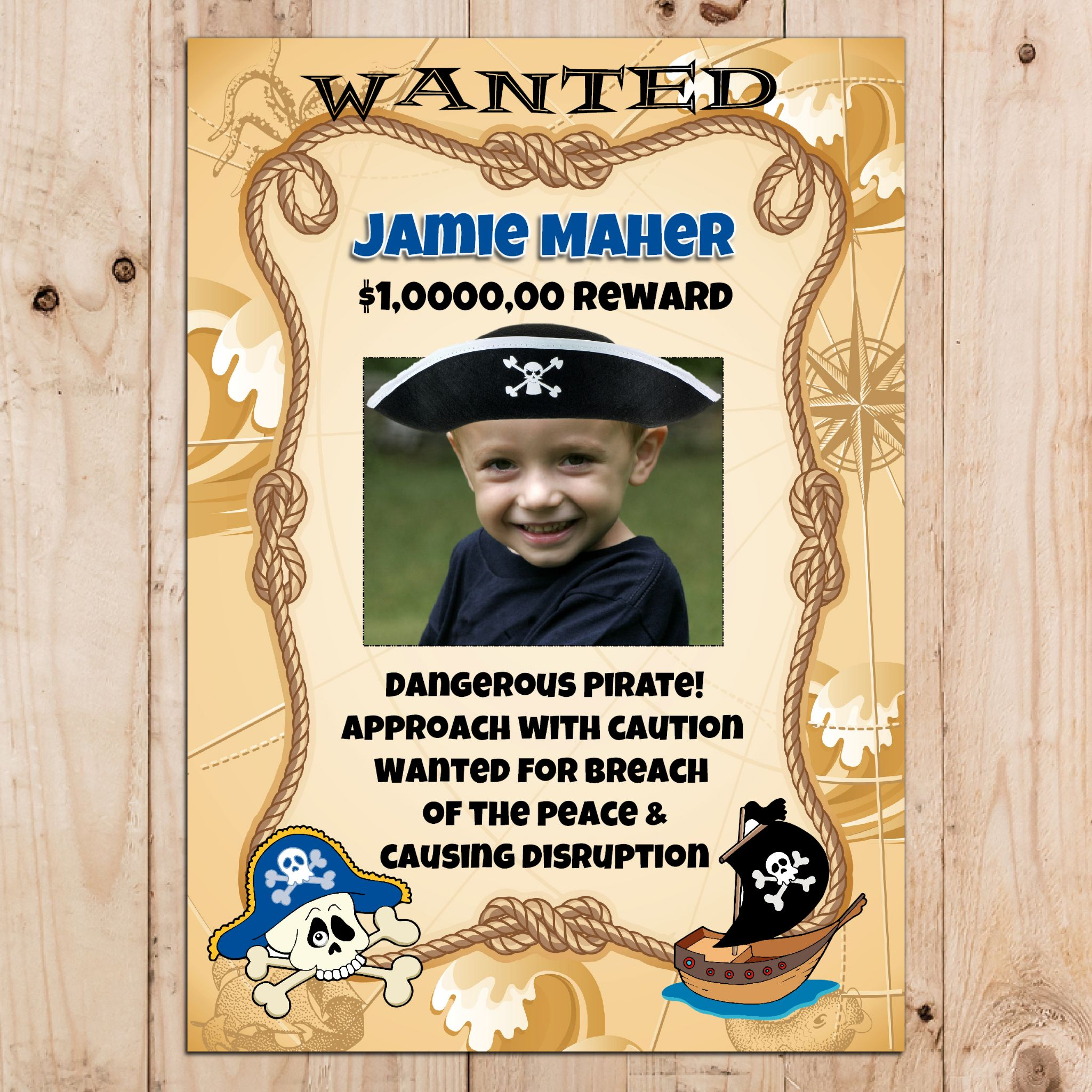 wanted birthday poster ; personalised-pirate-happy-birthday-party-wanted-photo-banner-poster-n1-1115-p