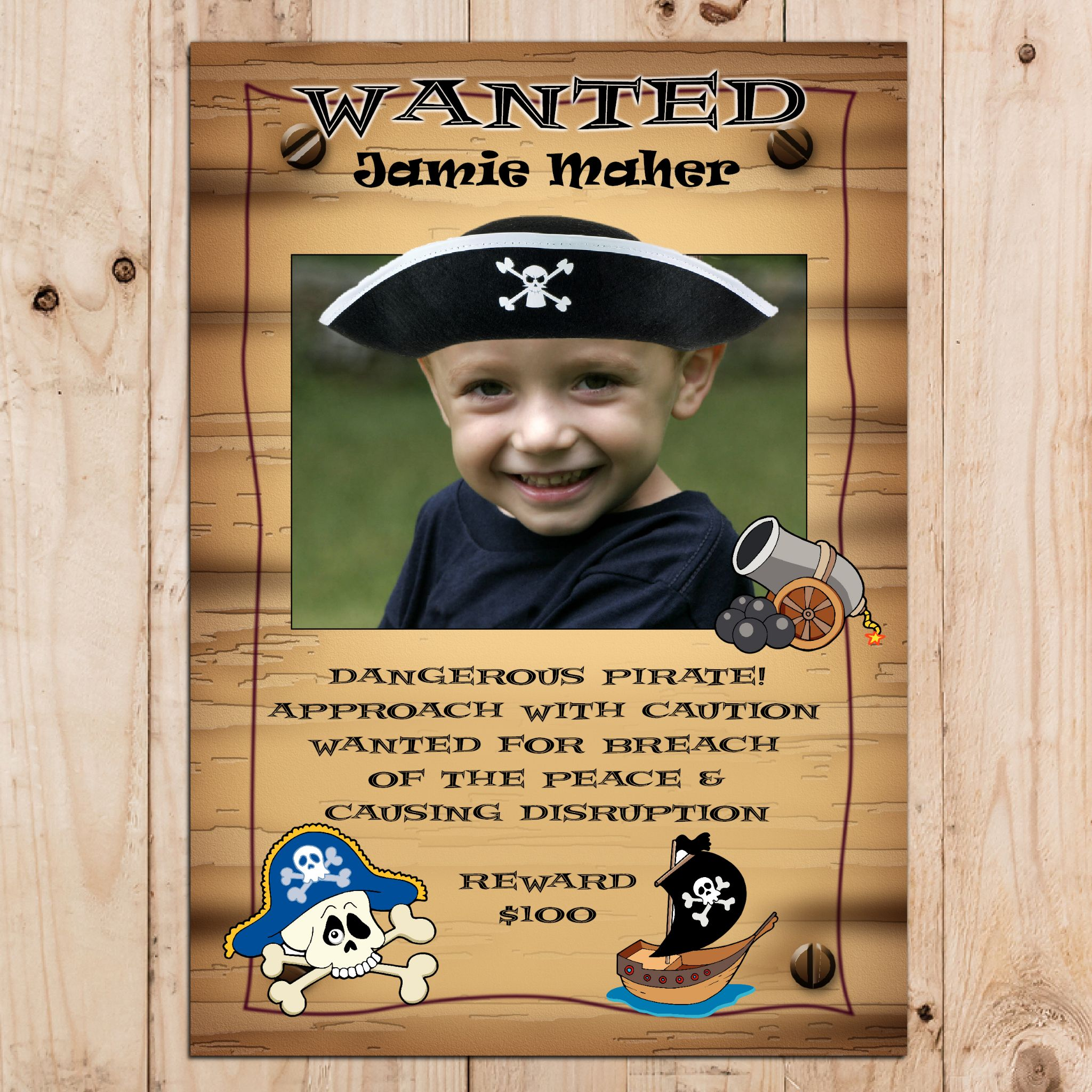 wanted birthday poster ; personalised-pirate-happy-birthday-party-wanted-photo-banner-poster-n2-1059-p