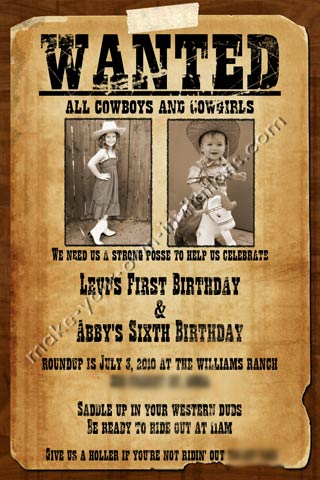 wanted birthday poster ; wild-west-invitations-7
