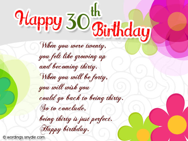 Wife 30th Birthday Card Message Wishes Wordings And