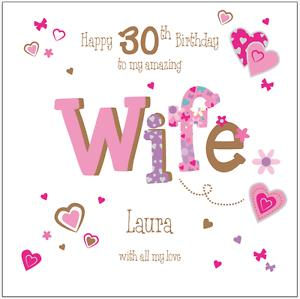 wife 30th birthday card message ; s-l300