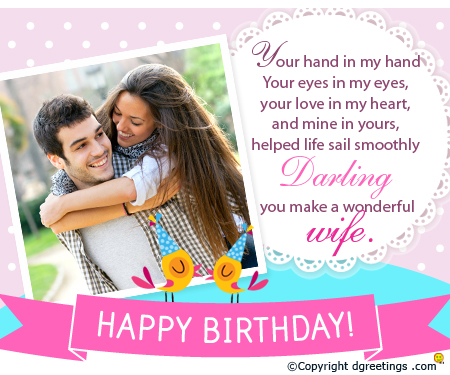 wife birthday card message ; wife-birthday-card-message-sweet-couple-polka-dots-pattern-rectangle-beautiful-wording-darling-you-make-a-wonderful-wife