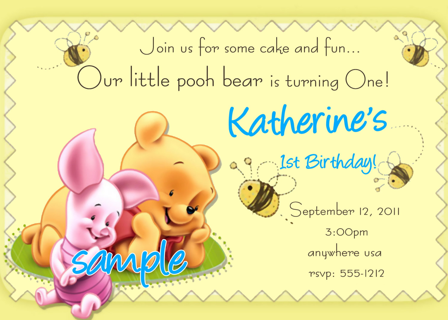 winnie the pooh photo birthday invitations ; best-maker-birthday-invitation-cards-nice-sample-yellow-background-winnie-the-pooh-and-piglet-picture-ornament