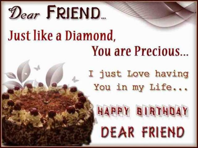 wish you happy birthday my dear friend ; precious-Birthday-Wishes-for-Friend-with-Images-640x479