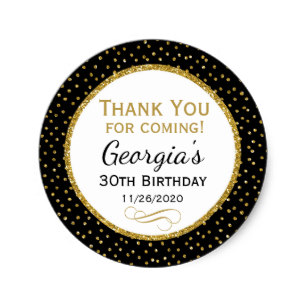 zazzle birthday stickers ; birthday_black_gold_thank_you_favor_tags-r901551f4a3f94f6689e57b88a3b3749e_v9waf_8byvr_307