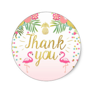 zazzle birthday stickers ; flamingo_party_favor_tags_tropical_thank_you_card-r3e96536751d546e7954ddc58ee78893d_v9waf_8byvr_324