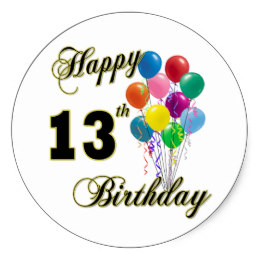 zazzle birthday stickers ; happy_13th_birthday_gifts_and_birthday_apparel_classic_round_sticker-r627919f887e5497bb9c402ede6f08218_v9wth_8byvr_260