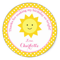 zazzle birthday stickers ; little_sunshine_pink_yellow_birthday_party_favor_classic_round_sticker-r6eaeb1bbb2a343f4abeb01455232e0d7_v9wth_8byvr_200
