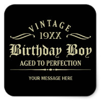 zazzle birthday stickers ; personalise_funny_birthday_black_square_sticker-r651f54437e7a478d8826439b82b681d5_v9i40_8byvr_200