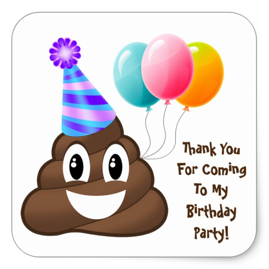 zazzle birthday stickers ; thank_you_customized_poop_emoji_birthday_stickers-r900540277c2d46489b8d7d9af55c08eb_v9i40_8byvr_540