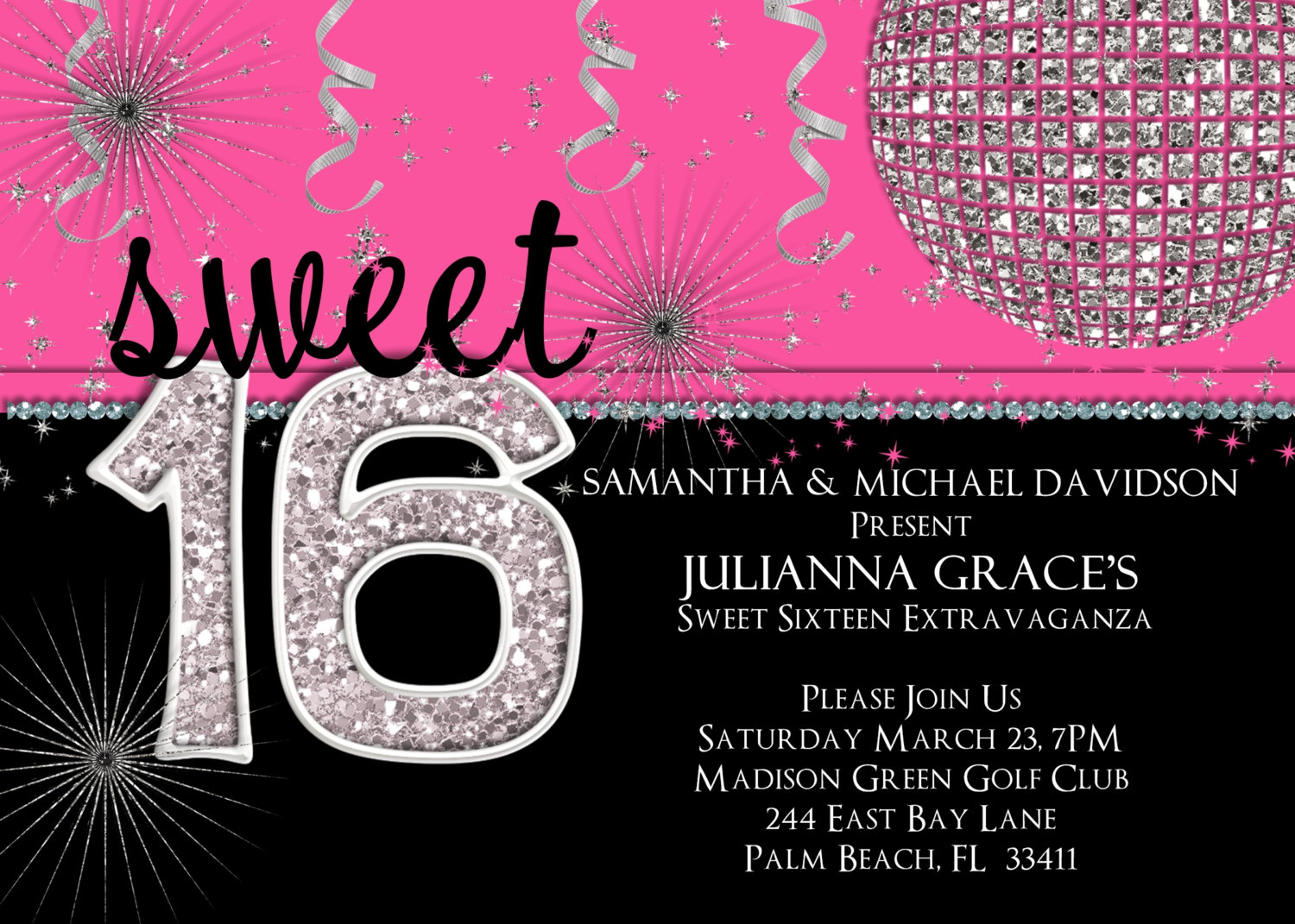 16 birthday party invitation cards ; 16-birthday-invitations-for-girl-