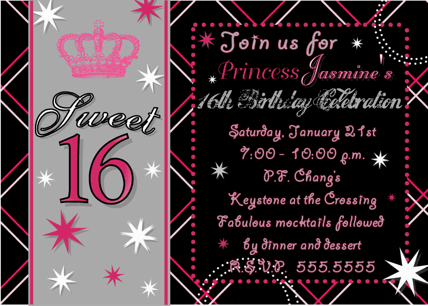 16 birthday party invitation cards ; Join-Us-For-Sweet-Sixteen-Party-Invitations-with-Black-Background-Colors-also-Princes-Jasmine