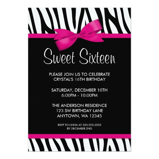 16 birthday party invitation cards ; Zebra-Hot-Pink-Printed-Bow-Sweet-16-Birthday-Party-Invitation-Card