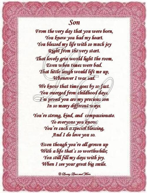 18th birthday poem for son from mother ; 38438fea70cbfd76c1083376481d6ce7
