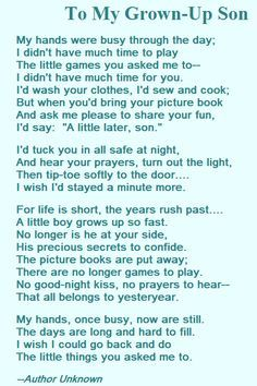 18th birthday poem for son from mother ; 91fb5e09769c664419f21c94da588500