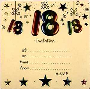 18th birthday welcome message ; 18th-birthday-invitations