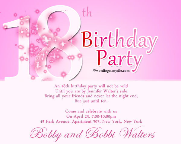 18th birthday welcome message ; 18th-birthday-party-invitation-wording