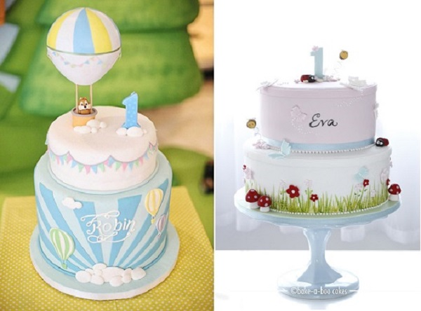 1st birthday cake design ideas ; first-birthday-cakes-via-Pinterest-left-and-by-Bake-A-Boo-Cakes-NZ-right1