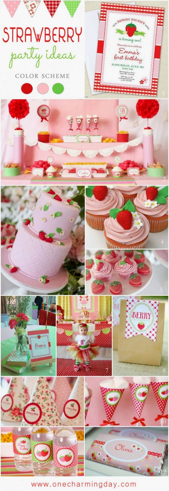 1st birthday color schemes ; Strawberry-Party-Ideas-600x1736