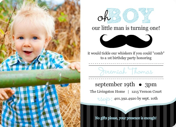 1st birthday evite message ; Blue-And-Black-Moustache-1st-Birthday-Invitation