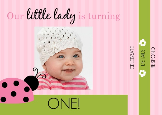 1st birthday evite message ; Pink-And-Green-Ladybug-1st-Birthday-Booklet-Invite