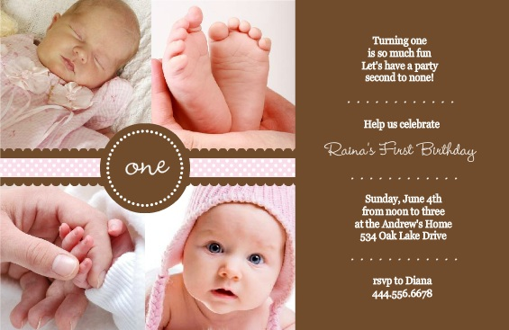 1st birthday evite message ; Ribbon-First-Birthday-Invite