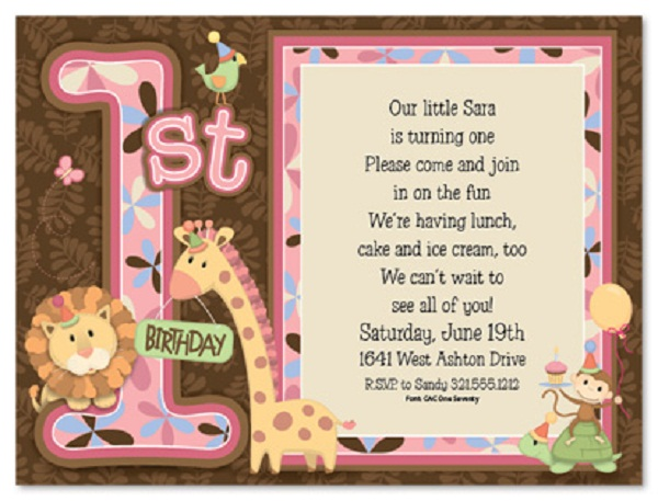 1st birthday evite message ; birthday-invitations