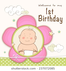 1st birthday images clip art ; kids-1st-birthday-celebration-invitation-260nw-237072085