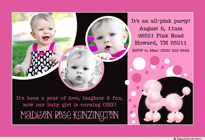 1st birthday invitation cards for daughter ; pink-poodle-3-photo-1st-birthday-invitation