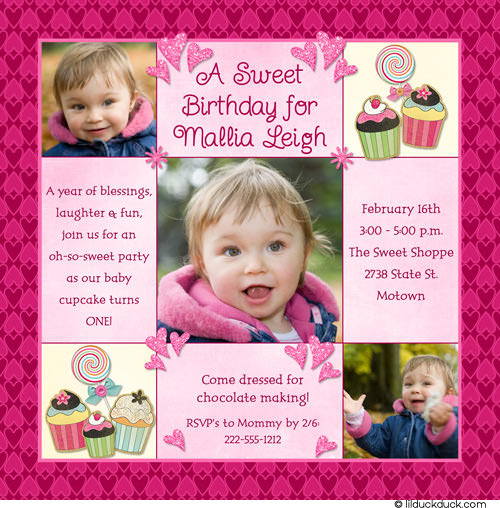 1st birthday invitation cards for daughter ; sweet-treat-cupcake-1st-birthday-invitation-hearts-pink-photo