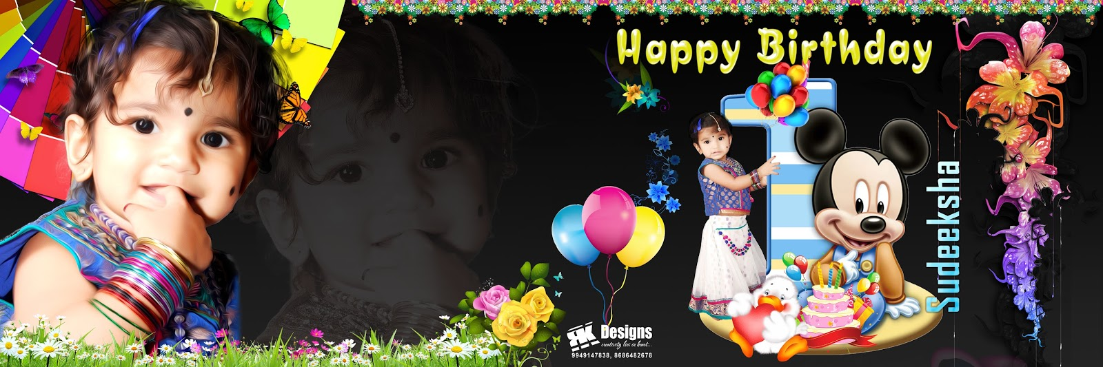 1st happy birthday flex designs ; 01