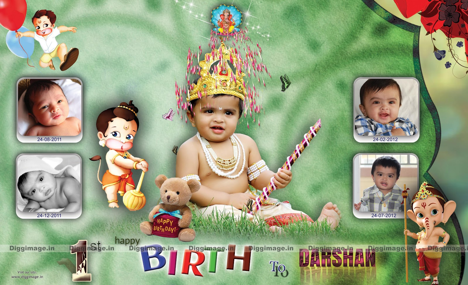 1st happy birthday flex designs ; birthday+flex+to+NRi+%2528indain+%2529+desigen+by+diggimage