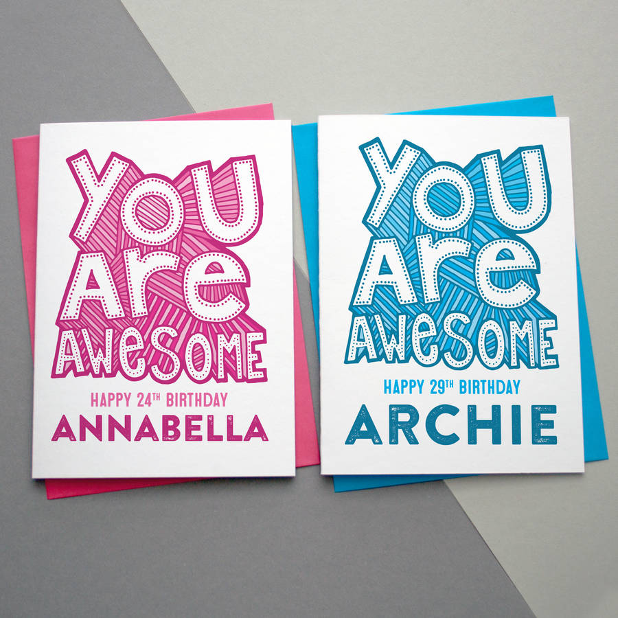 24th birthday card ; original_you-are-awesome-personalised-birthday-card
