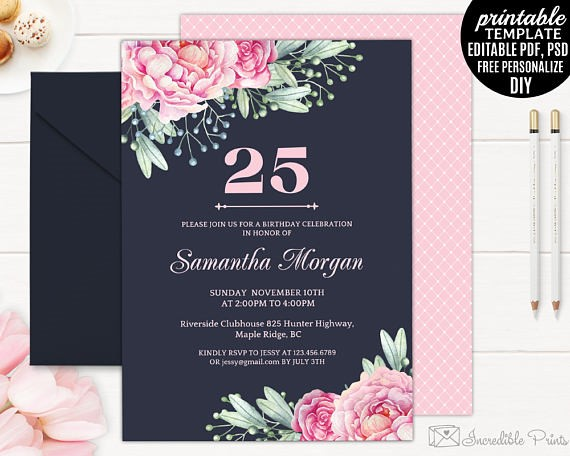 25th Birthday Party Invitation Ideas Unique 25Th Invitations As