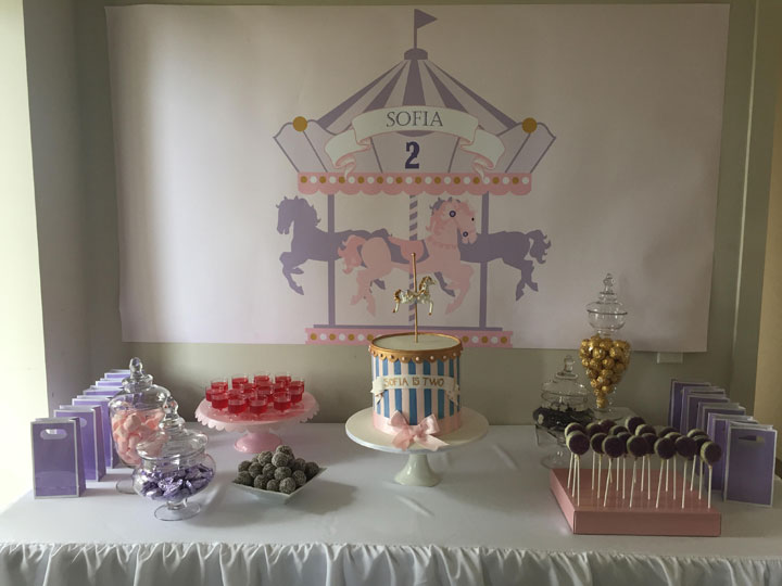 2nd birthday backdrop ; sofia-carousel-party-720px-1