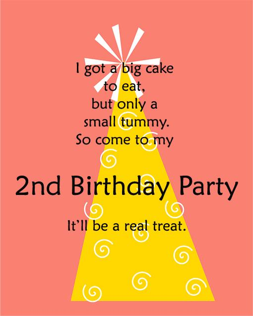 2nd birthday message to daughter ; birthday-party-invitations