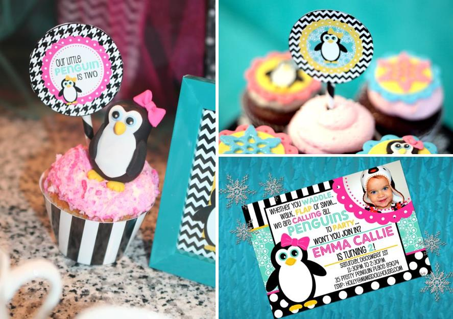 2nd birthday party ideas for girl ; Penguin-Themed-Winter-Birthday-Party-via-Karas-Party-Ideas-www