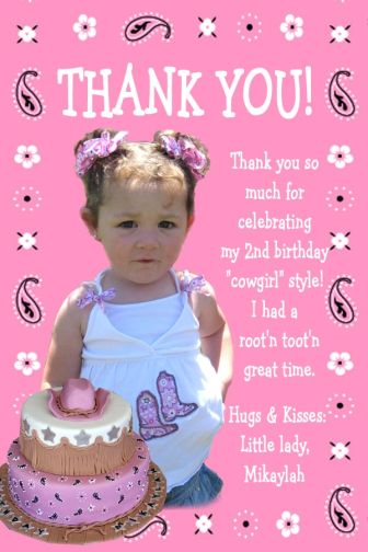 2nd birthday thank you card sayings ; COWGIRL_03