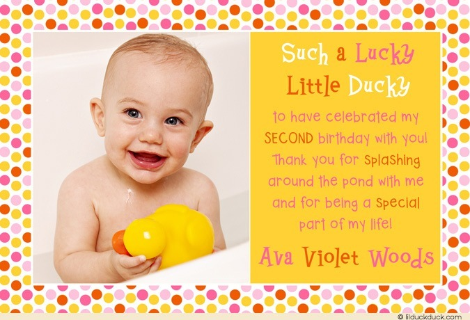 2nd birthday thank you card sayings ; lucky-little-ducky-photo-thank-you-card-second-birthday-girl-yellow-orange-pink1