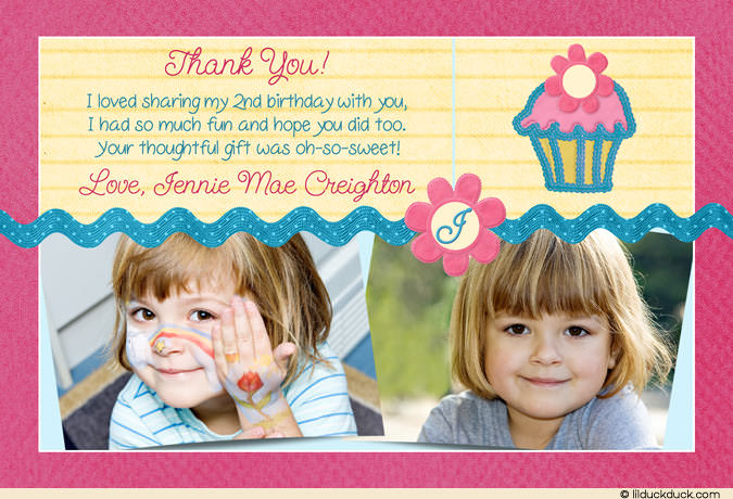 2nd birthday thank you card sayings ; pink-cupcake-2nd-birthday-thank-you-deep-pink-teal-yellow-2-photo
