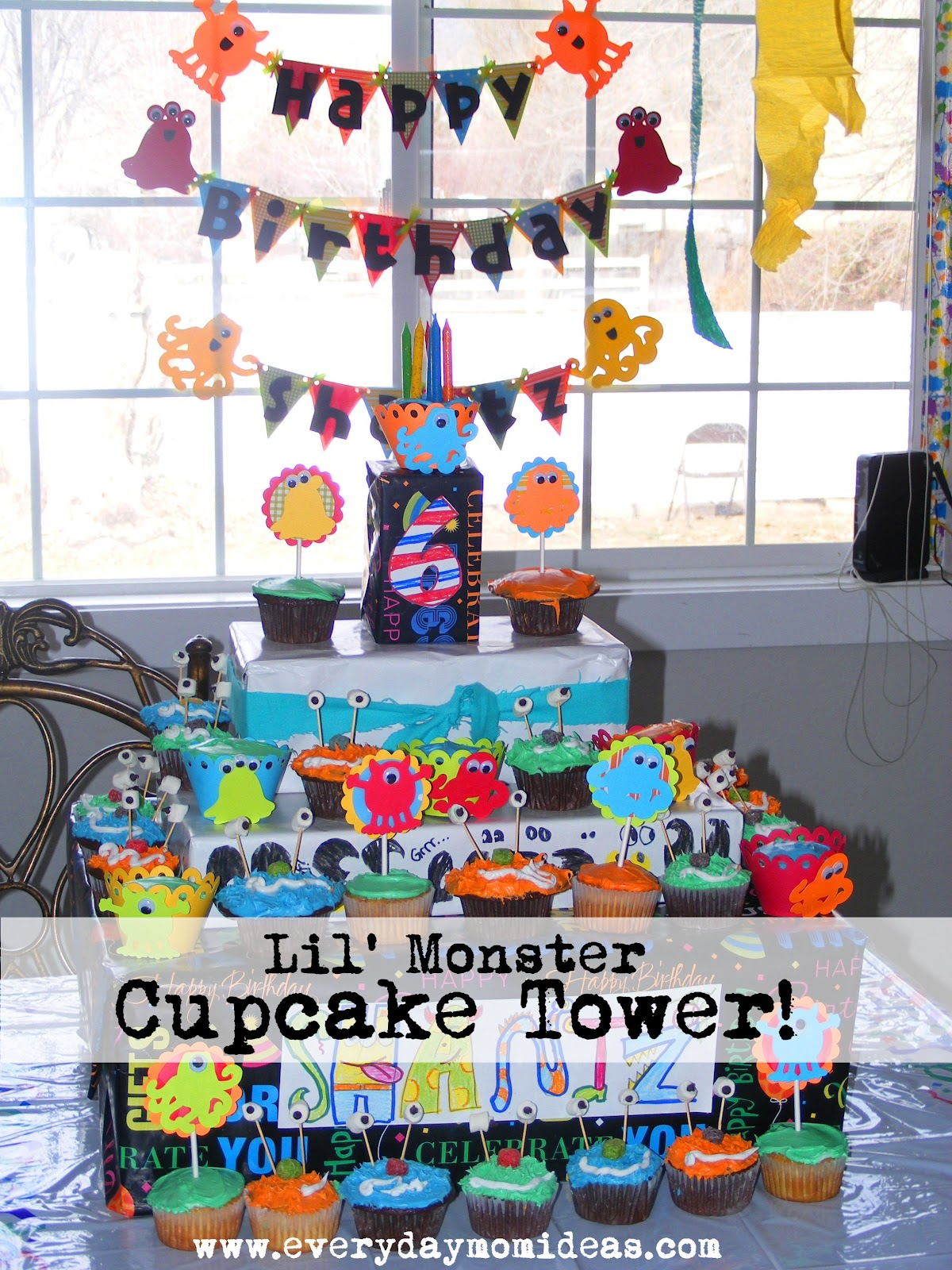 3 year old boy birthday party activities ; cupcake+tower