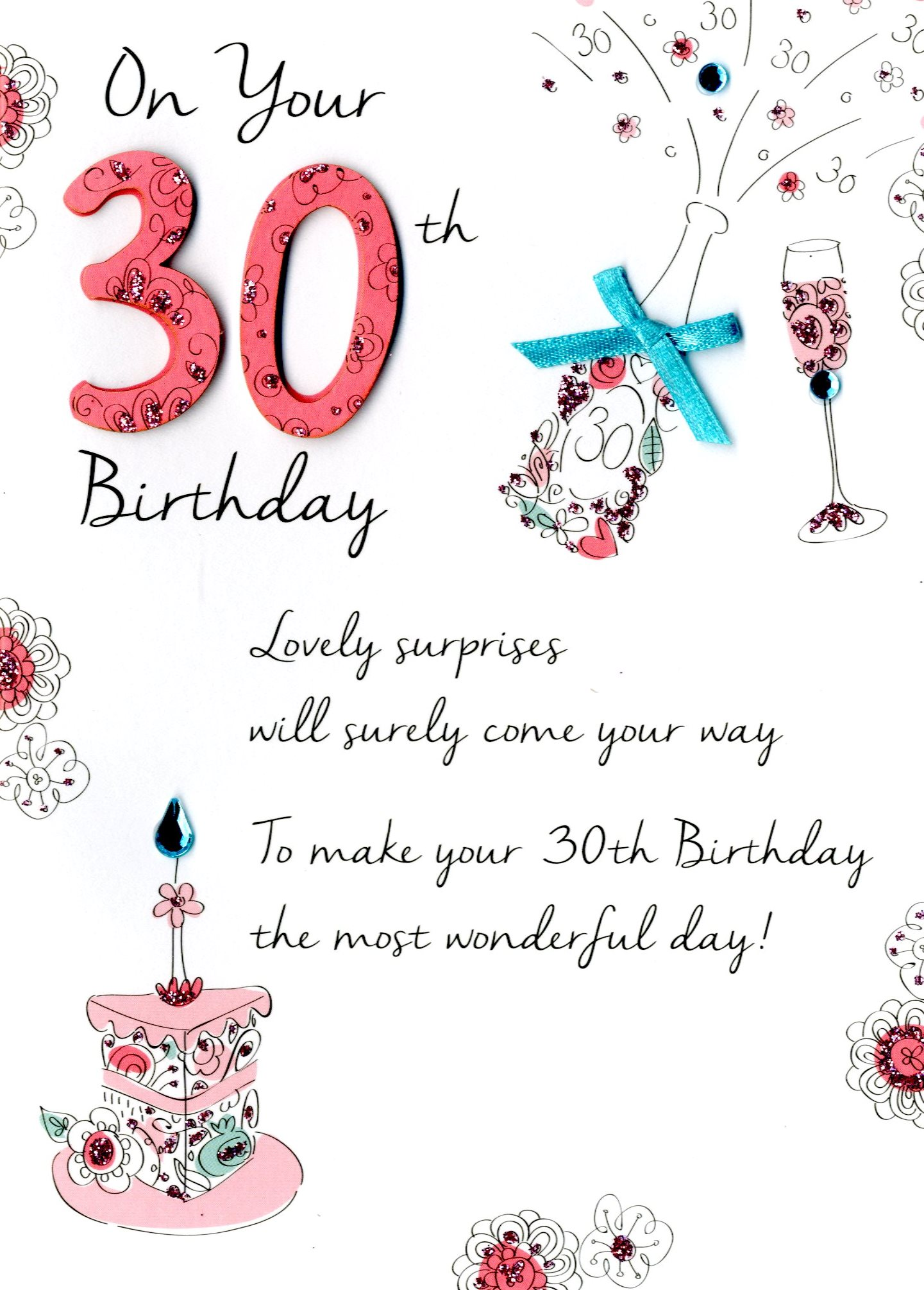 30th birthday greeting cards ; JT023