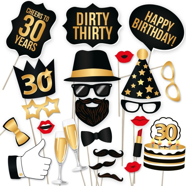 30th birthday photo booth ; photo-booth-30th-Birthday-Photo-Booth-Props-Unisex-30th-Thirty-Birthday-Dirty-Thirty-Party-30th-HAPPY