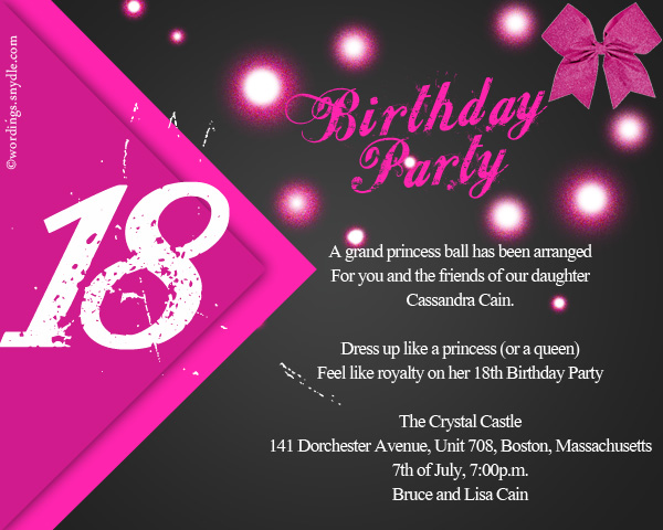 39th Birthday Party Invitation Wording 18th