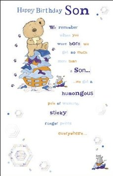 3rd birthday card verses ; forget-me-not-son-birthday-card-bear-verse-10-x-6
