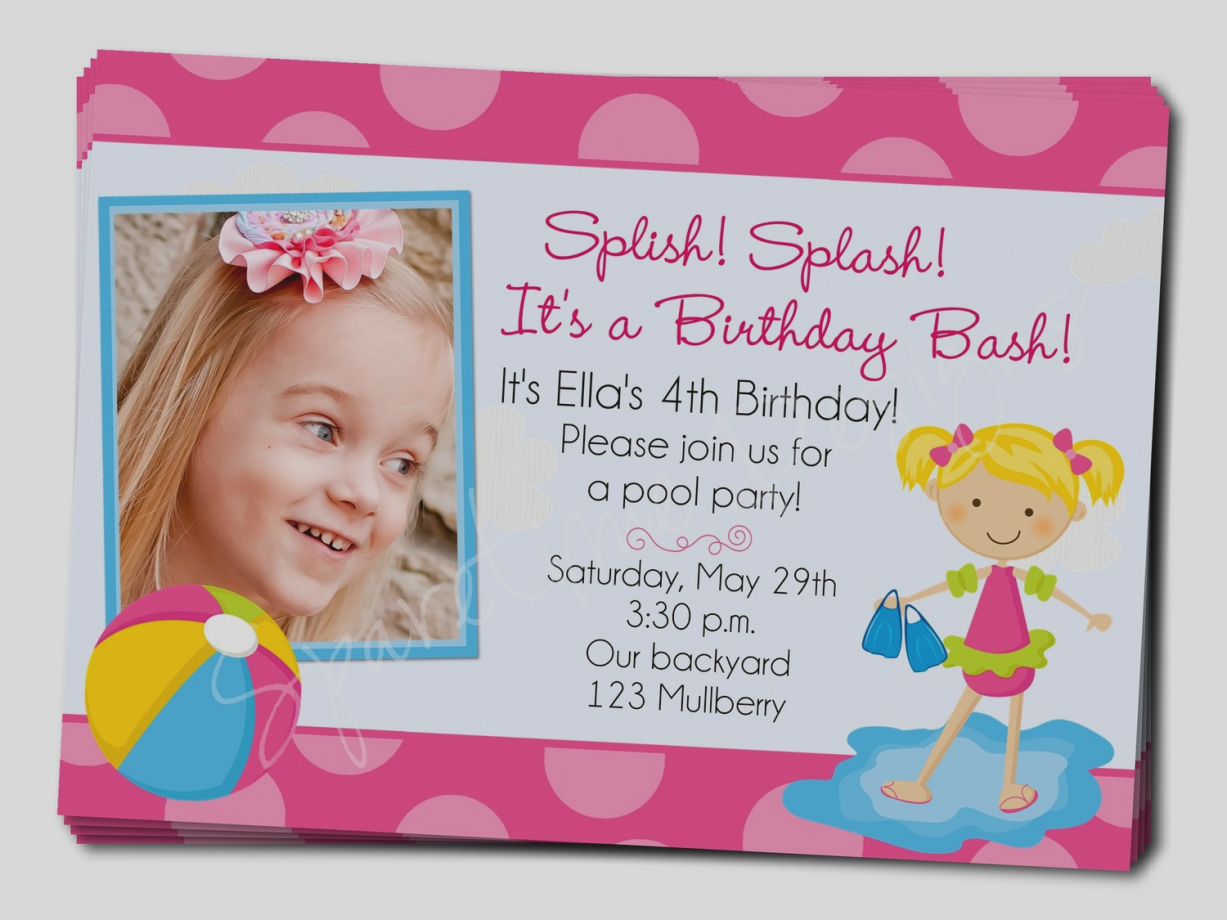 3rd Birthday Pool Party Invitation Wording Unique Of