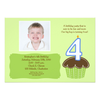 4 Year Old Birthday Invitation Four Cupcake